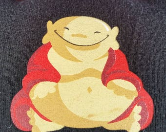Live a Happy Life-Upcycled Safe-Sex Pillow, w/ Condom & Lube Pockets, OOAK, black, Buddha, belly, joy, philosphy