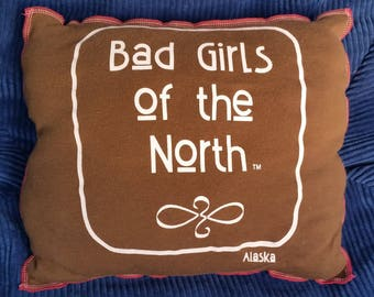 Bad Girls of the North-Upcycled Safe-Sex Pillow, w/ Condom & Lube Pockets, OOAK, brown, pink, Alaska