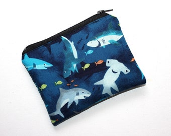 blue sharks green sharks small makeup bag credit cards keeper ready to ship coin purse Handmade small pouch with zipper pull