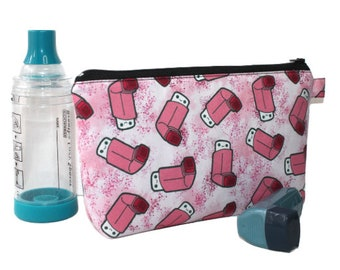 Large Pouch in Pink Asthma Puffer Inhaler Fabric, mini scale print