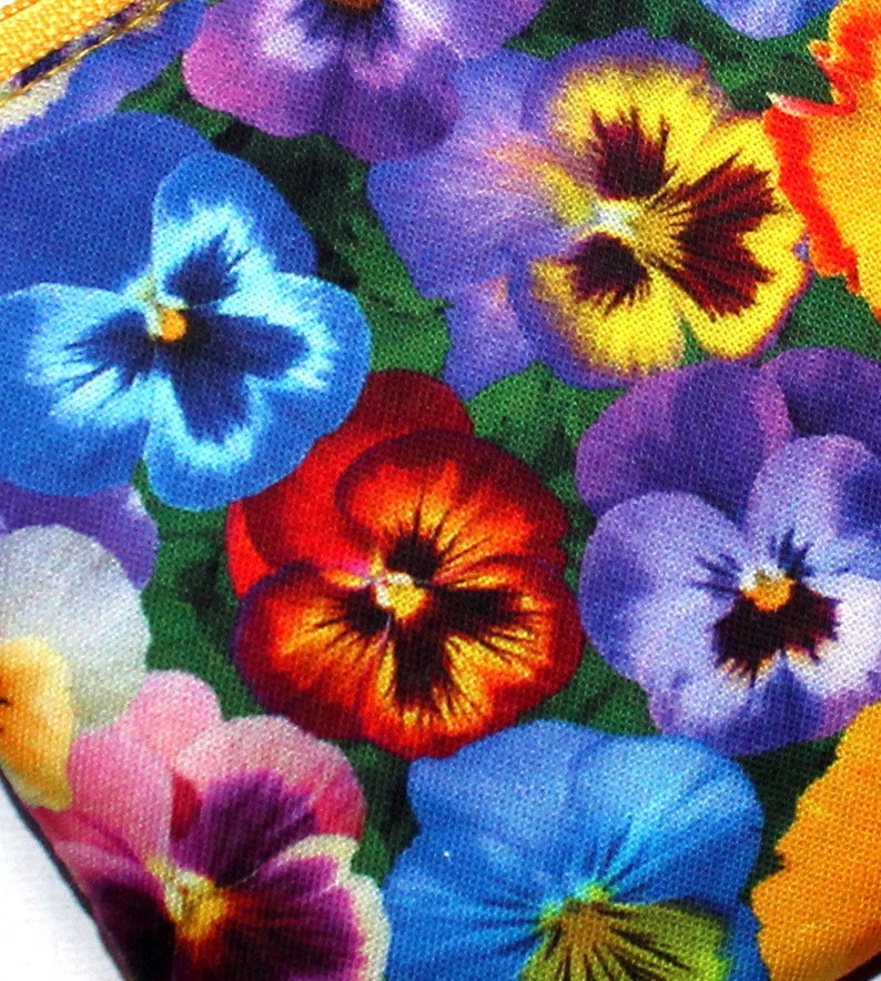 Small Zippered Pouch in Colourful Pansy Fabric