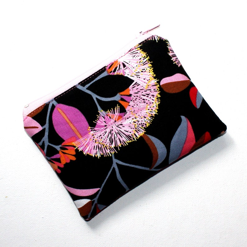Small Zippered Pouch in Gorgeous Eucalyptus Floral Fabric