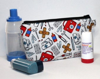 Large Pouch in First Aid Fabric, medicine and asthma inhaler pouch