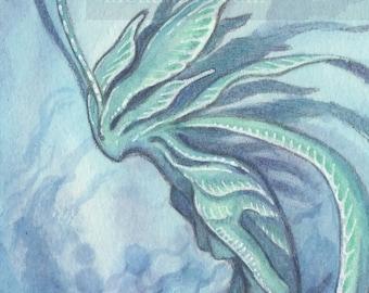 """Original ACEO Drawing """"Nudibranch Mermaid"""" fantasy art painting"""