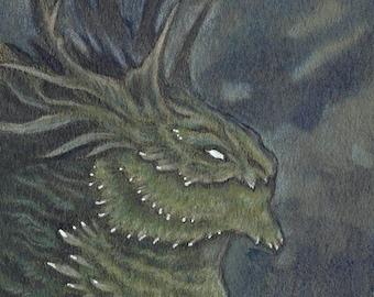 "Original ACEO Drawing ""Moss Dragon"" fantasy art painting"