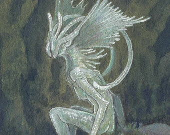 """Original ACEO Drawing """"Deep Forest Faerie"""" fantasy art painting"""