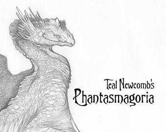 "Limited Edition Sketchbook ""Phantasmagoria""/ 5""x7"" black and white, art book, monsters, dragons, fantasy, aliens, drawings, nature botanical"