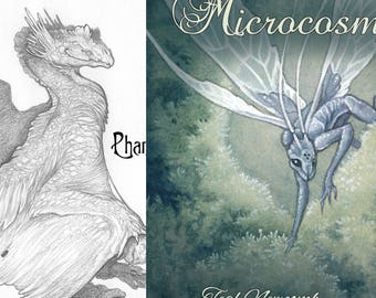 """Both art books """"Phantasmagoria"""" AND """"Microcosms / 5""""x7"""" black and white, 4""""x5"""" full color fantasy art nature dragon fairy forest botanical"""