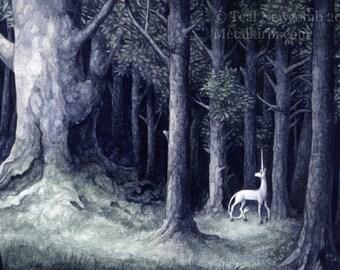 """DISCONTINUED - 4""""x6"""" Archival  Open Edition Lustre Art Print """"Grove"""" heraldic unicorn forest watercolor fantasy"""