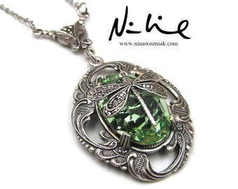 Green Swarovski Crystal Element Antique Sterling Silver Plated Brass Filigree Dragonfly Pendant Necklace (SSNK154)
