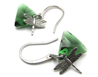 Silver Dragonfly Triangular Swarovski Crystal Element Earrings (ERSS102)