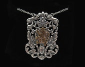 Antique Sterling Silver Plated Brass Crest - Brass Crowned Lion Pendant Necklace