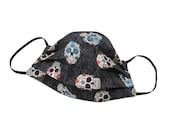 Sugar Skulls - Black - Handmade - Reversible - Washable - Face Cover - Face Touching Guard - For Adults