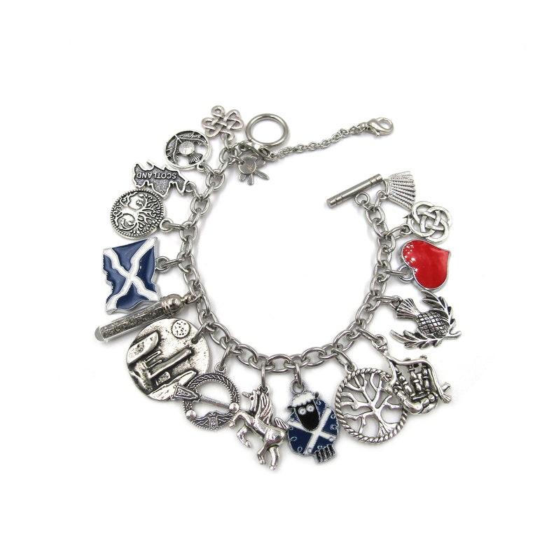 Real Scottish Sand Glass Vial Standing Stones Medallion Multi Dangling Charm Bracelet I Love Scotland