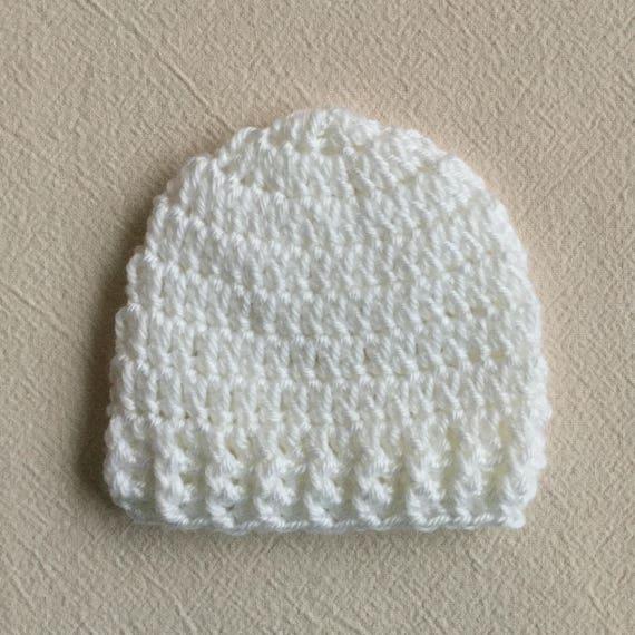 White Baby Hat CROCHET BABY HAT Newborn Hat Baby Boy Baby   Etsy