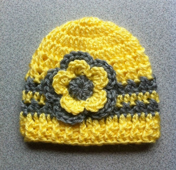 Yellow and Grey Baby Hat 0604e691a56