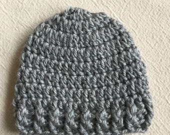 Grey Baby Hat, CROCHET BABY HAT, Newborn Hat, Baby Boy, Baby Girl, Beanie, Handmade Crochet Hat, Crochet Toque, Crochet Toddler Hat, Photo