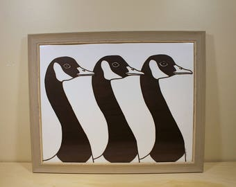 Framed Original Geese Drawing