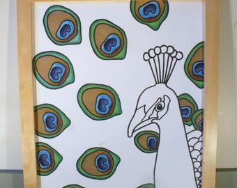 Framed Original Peacock Drawing