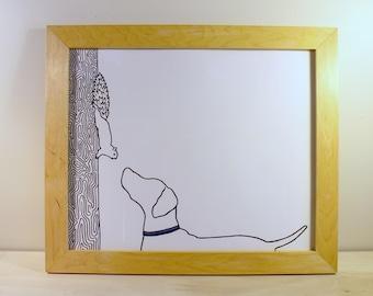 Framed Original Vizsla Squirrel Drawing