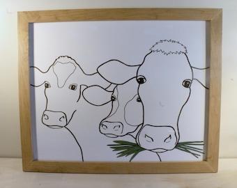 Framed Original Cows Drawing
