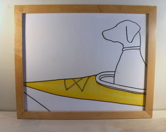 Framed Original Vizsla Kayak Drawing