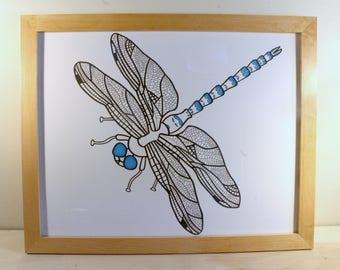Framed Original Dragonfly Drawing