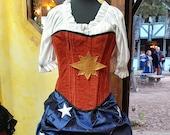Captain Marvel Corset, Steampunk, Renaissance Costume, Steel Boned Corset, Super Hero, Renaissance, Costume, Cosplay