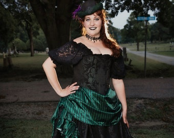 Haunted Mansion Inspired Ball Gown, Cosplay, Costume, Corset, Black Lace Shirt, Deluxe Saloons Skirts, Halloween