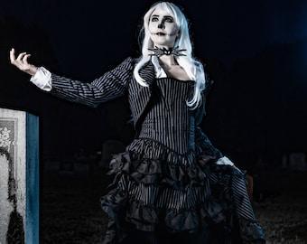 Jack Skellington-inspired Corset Cosplay, Halloween Costume, Nightmare, Christmas, Halloweentown, Victorian, Steampunk, Gothic