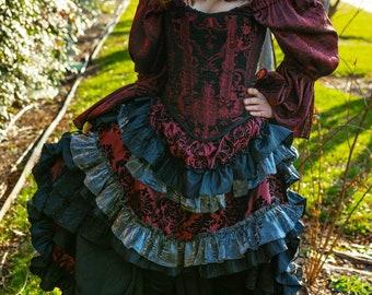 Burgundy and Black with Silver Ruffles Wild West Skirt, Western Steampunk, Bustle, Pirate, Wild West World, High-Low, Renaissance, Maroon