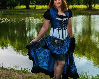 Blue and Black Steampunk Skirt, Doctor Who, Blue, Black, Steampunk, Renaissance, Pirate, fairy