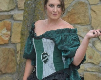 Silver and Green Ambitious House Corset with Leather Emblem, Snake House, Cunning, Witch Cosplay, Wizard School, Harry, Draco, Costume