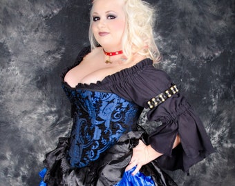 Victorian Steel Boned Blue and Black Corset, Plus Size, 4X/6X, Authentic Pattern, Steampunk, Renaissance Festival, Victorian, Pirate