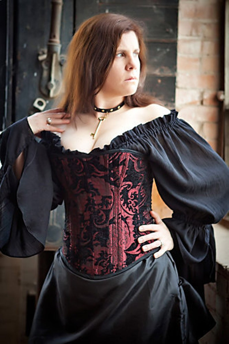 fc65dc186ca Red and Black Victorian Steel Boned Overbust Corset Sith