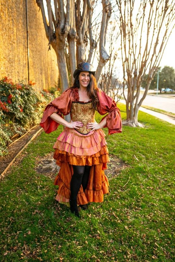 7bde2cf900242a Copper Fancy Saloon Girl Skirt Steampunk Victorain | Etsy