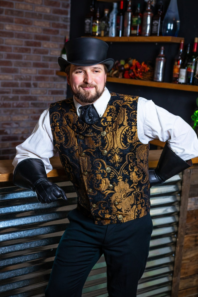 Men's Steampunk Vests, Waistcoats, Corsets Gold and Black Vest Mens Double Breasted Vest Steampunk Victorian Renaissance Pirate Halloween Costume Gothic Dickens Wedding $200.00 AT vintagedancer.com