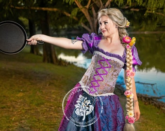 Princess Rapunzel Costume with Purple Ribbon and Lace Trimmed Corset and Embroidered Purple Court Skirt with Lantern, Renaissance Cosplay