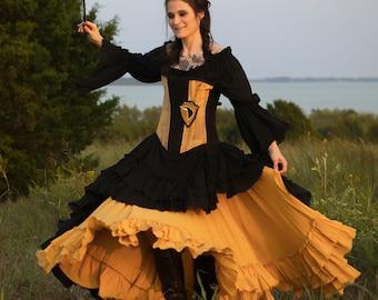 Gold Saloon Girl Skirt, Renaissance Festival, Ren Fest, Fair, Faire, Medieval, Steampunk, Victorian, Western, Peasant, Long Ruffles