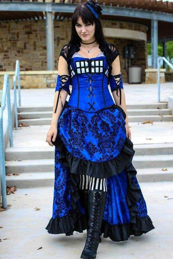 c185372e9a8b3 Steampunk Skirt Plus Size Blue and Black Steampunk