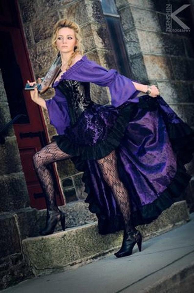 Purple Black and Silver Steampunk Pirate Corset Outfit  b17dd4e6a