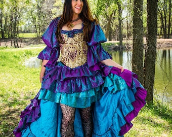 Mermaid shimmer purple and teal iridescent Costume SKIRTS, and chemise; PLEASE see note about corset fabric in description