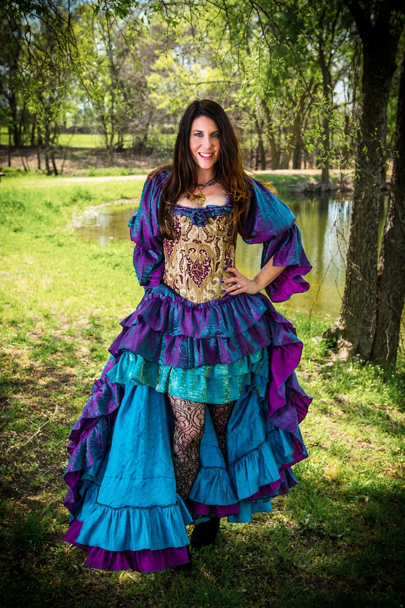 Saloon Girl Costume | Victorian Burlesque Dresses & History Mermaid shimmer Purple and Teal Iridescent Fancy Saloon Skirt Steampunk Fairy High-low Style Long Ruffles Renaissance Festival Ren Fair $135.00 AT vintagedancer.com