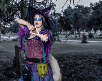 Shock-inspired Corset Costume Cosplay, Halloween Witch Costume, Nightmare, Christmas, Halloweentown, Victorian, Steampunk, Gothic, Purple