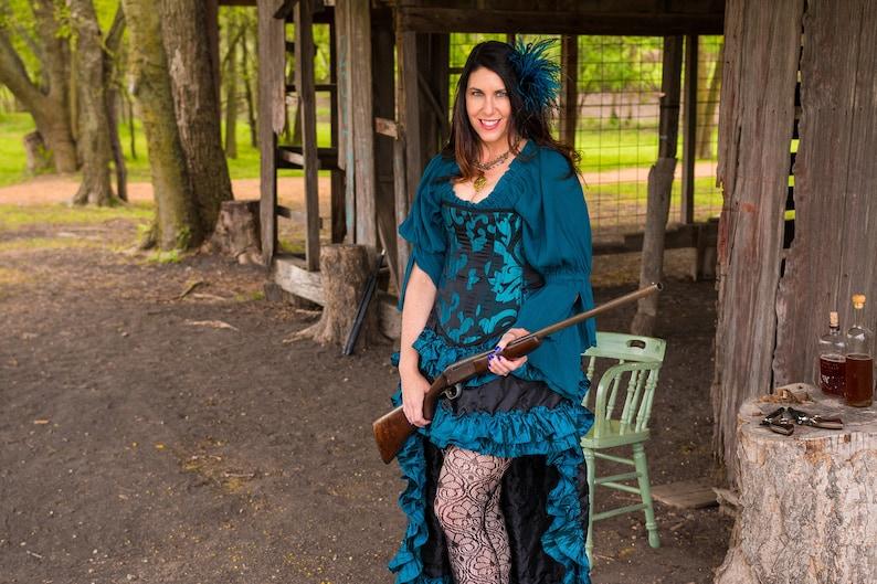 Pirate Fairy Western High-Low Victorian Black with Dark Teal Ruffles Wild West Skirt Steampunk Ruffles Renaissance
