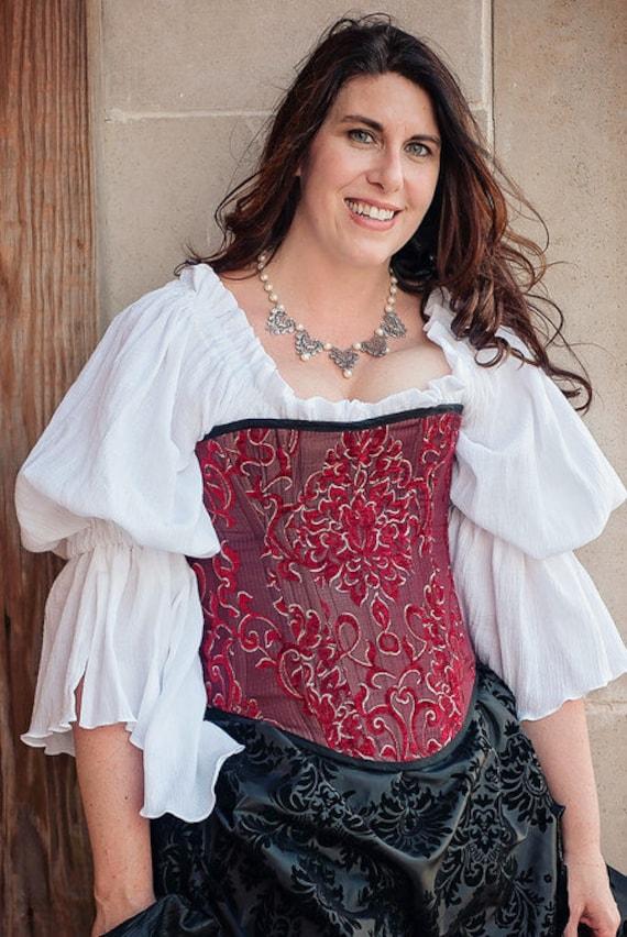 Renaissance Peasant Blouse Plus Size Chemise Knee Length Steampunk Cotton Shirt
