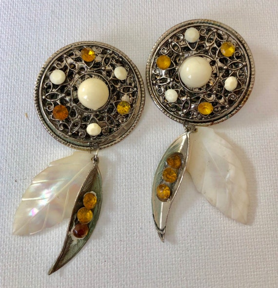 Boho Chic Retro Hippy Yellow Floral Large Oval Stud Statement Earrings 1970/'s