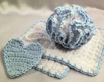 Baby Bath Set - 4 Pieces - Bath Puff, 2 Wash Cloths & Heart Shape Scrubbie - Baby Shower Gift - Crocheted Soft Cotton Yarn - Ready to Ship