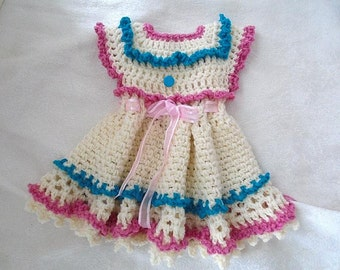 CROCHET PATTERNs, Baby Dress, Girl's Dress, Pink and Blue Frills, Newborn to 6 years, #244-L, Easy Pattern, crochet for baby