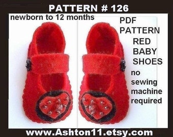 Make Felt Baby Shoes INSTANT DOWNLOAD  PDF 126 make sizes newborn to 12 months.No sewing machine required
